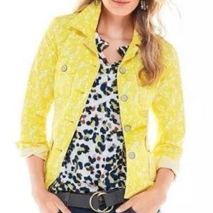 Cabi yellow floral field jacket medium collared